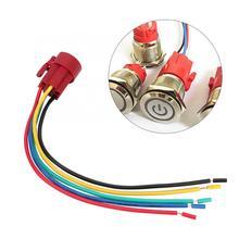 5 шт. 5-контактный металлическая кнопка переключатель провода разъем для 19 мм Диаметр плоской головки/Высокая Головка самоблокирующийся переключатель