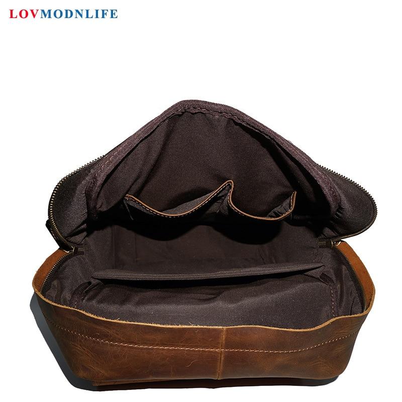 Купить с кэшбэком Luxury Men's Travel Bag Backpacks Anti Theft Cow Leather Men Laptop Backpack Retro Male Bagpack Genuine Leather School Bags 2020