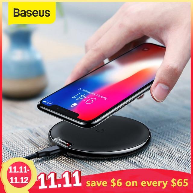 Baseus cargador inalámbrico Qi para móvil, Cargador USB de carga inalámbrica para iPhone 11, XS, MAX, 8 plus, Samsung S10, S9 Plus, Note 9, 8
