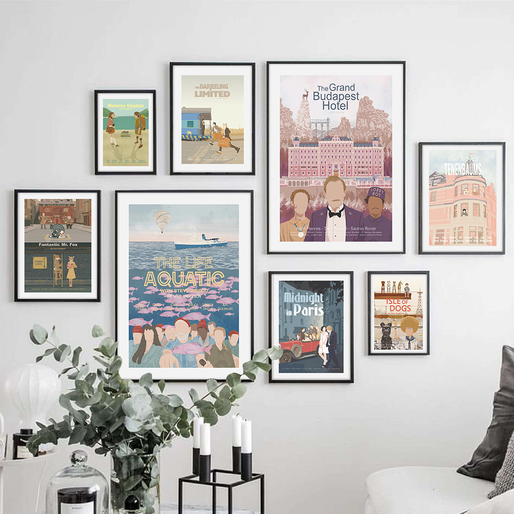 WES ANDERSON SET !! 7 Movies ! Canvas Painting Set Retro Poster And Prints Abstract Wall Art Pictures For Living Room Home Decor