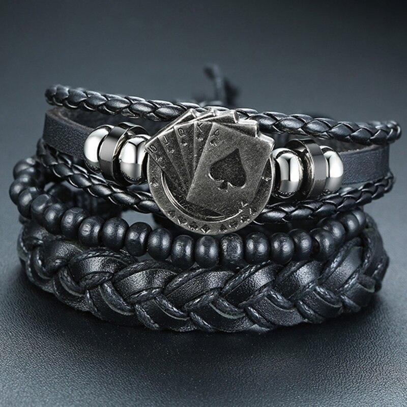 Vnox Mix 3-4Pcs/ Set Braided Wrap Leather Bracelets for Men Women Vintage Poker Charm Wooden Beads Ethnic Tribal Wristbands(China)