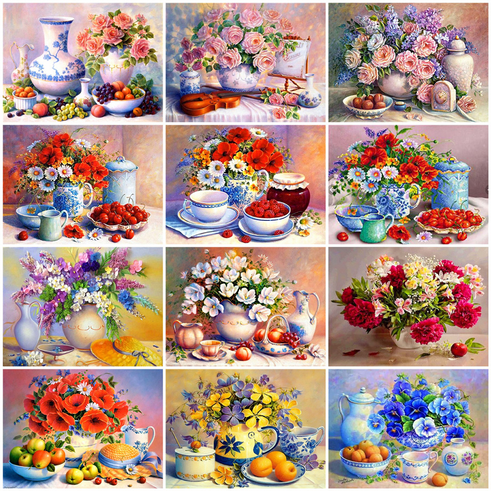 AZQSD Oil Painting Fruit Flower Coloring By Numbers Hand Paint Kit Canvas Home Decor Diy Gift Painting By Numbers DIY
