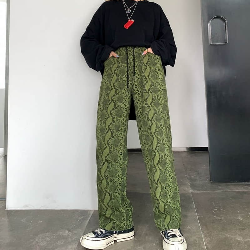 NiceMix Women High Waist Snakeskin Wide Leg Pants Streatwear Lady Loose Casual Long Harem Trousers Femme Punk Bottoms Straight