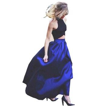 Falda larga hasta el suelo faldas de talle alto para Mujer Faldas de Amarillo Neón negras Saias Longa 2020 Femininas Formal Jupe Femme