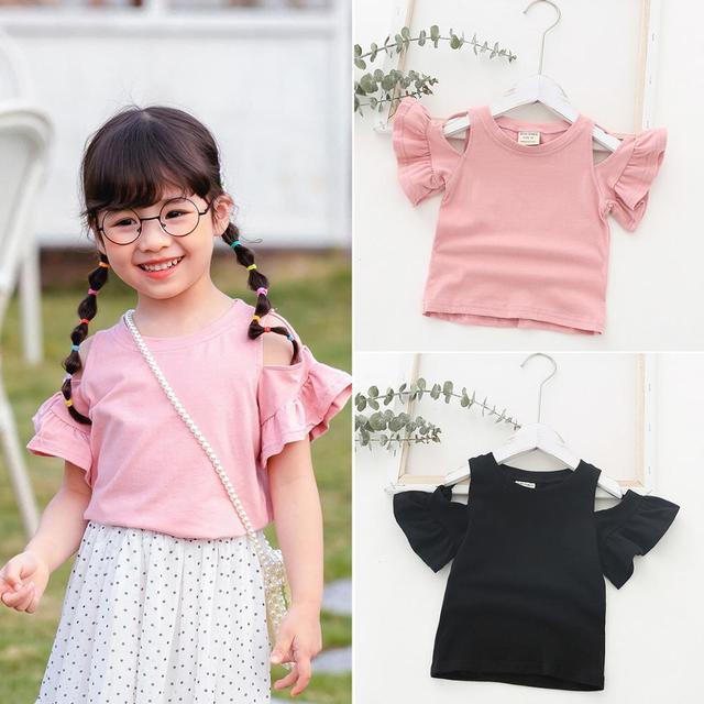 T-shirt pour bébés filles | Vêtements dété pour enfants garçons et filles, vêtements en coton pour tout-petits, hauts enfants et enfants manquant épaule chemises, tee 1-4ans