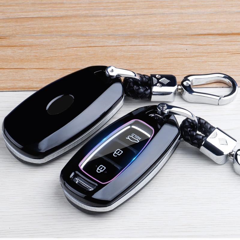 Carbon Fibre ABS Car Key Case Cover For Hyundai i30 i40 ix35 KONA Solaris Grandeur Ig Accent Santa Fe Palisade 2017 2018 2019