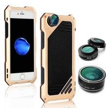 цена на Metal Phone Case Cover Protector For iPhone 7/7Plus 8/8Plus with Camera Lens Fisheye Wide Angle Macro Lens Telescope Zoom Lenses
