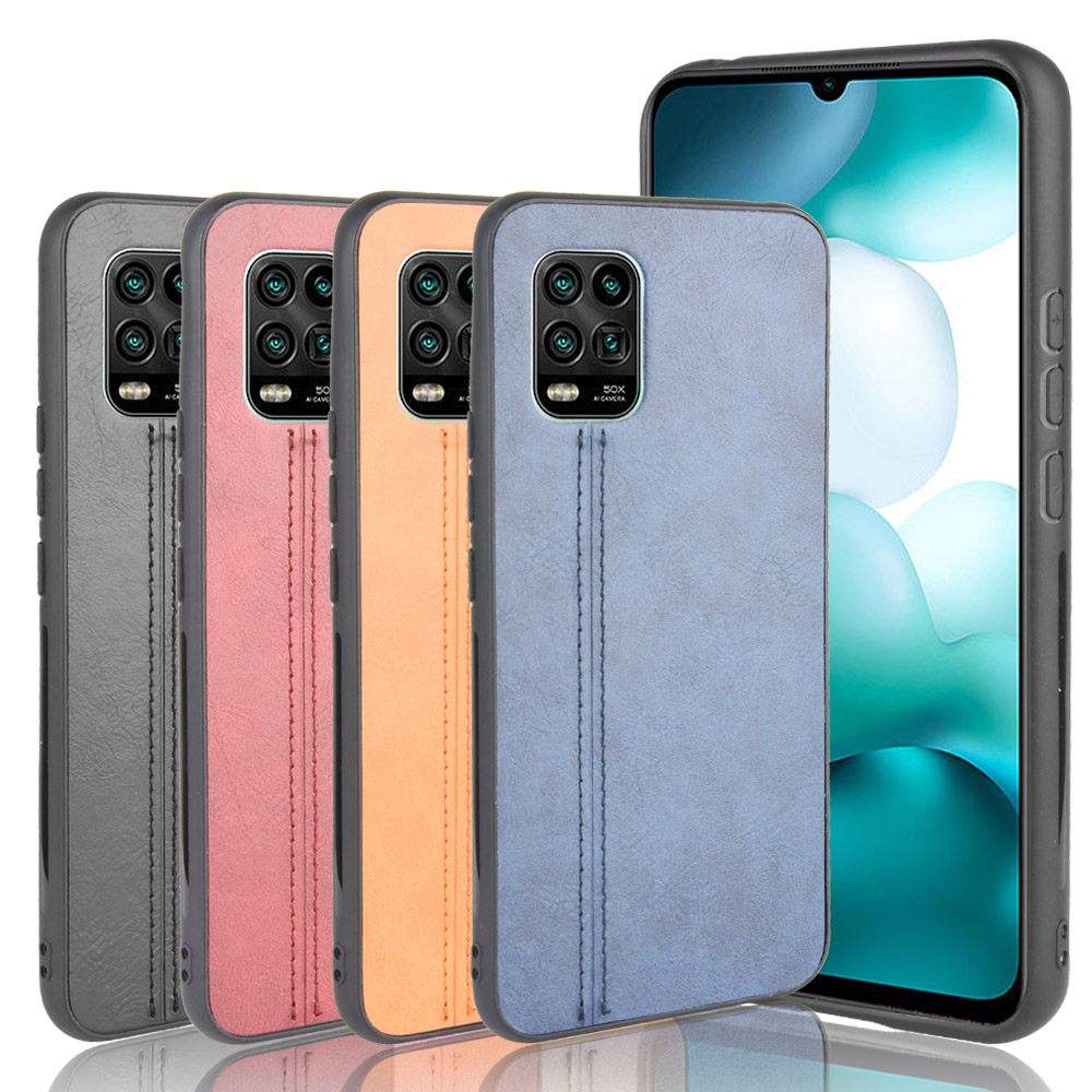 Xiaomi Mi 10 Lite 5G Case Lightweight Calfskin PU Leather Lines Soft Edge Phone Case Xiaomi Mi 10 Lite Zoom Edition Back Cover