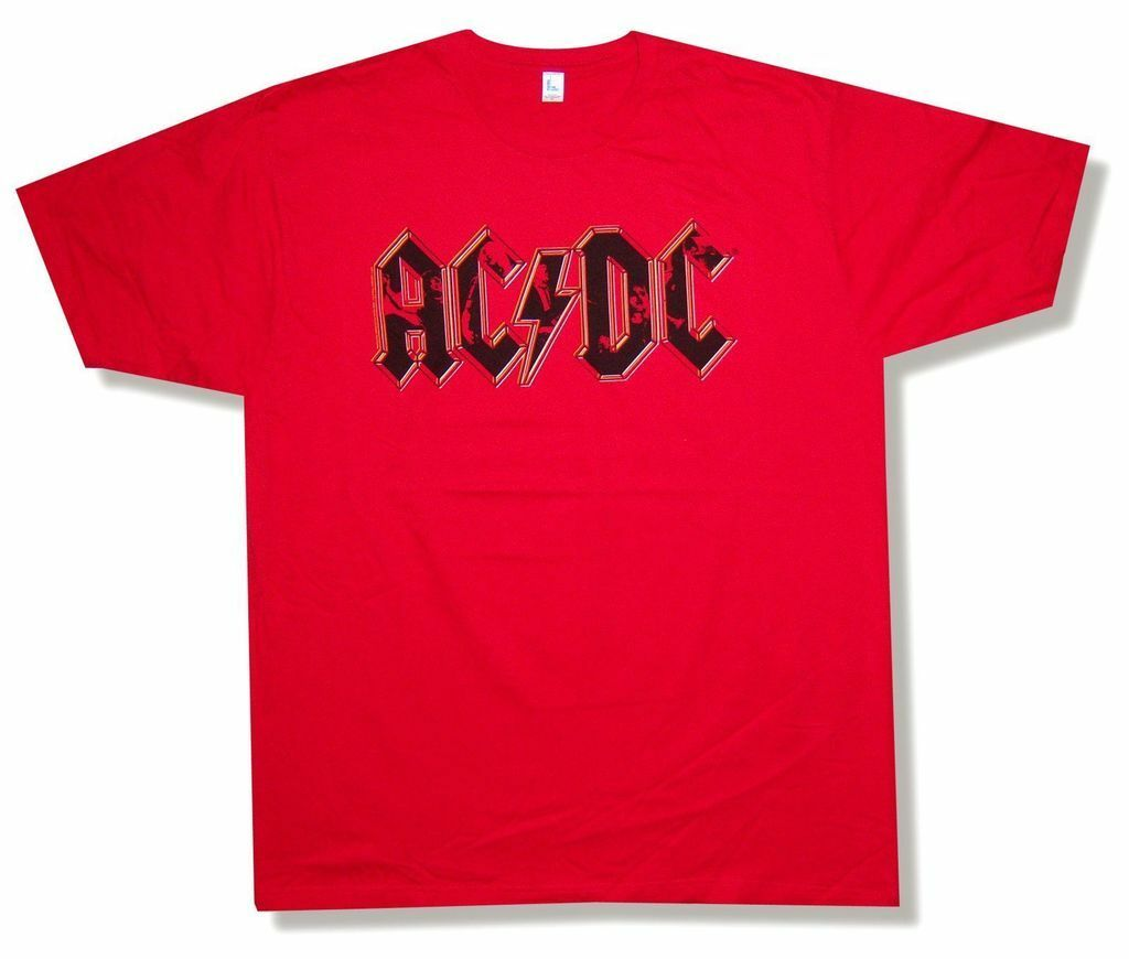 ACDC AC DC Rock Band Classic WORN LOGO Licensed Adult Heather T-Shirt All Sizes