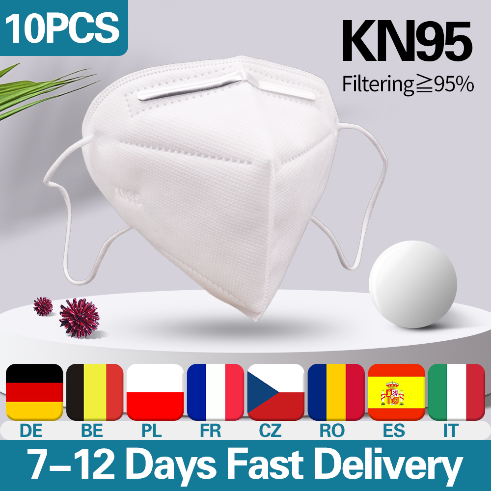 10Pcs KN 95s Mask Filter Face Masks  FFP 2 Safety Breathable Mask 99.5% Filtration Protective Respirator Masks