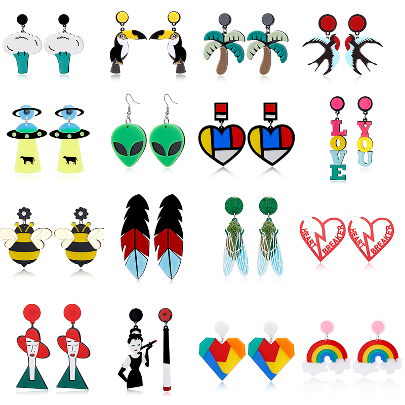 YAOLOGE Acrylic Cute Big Drop Earrings Astronaut Food Tassel Jellyfish Octopus Pearl Earrings For Women Trendy Jewelry Party