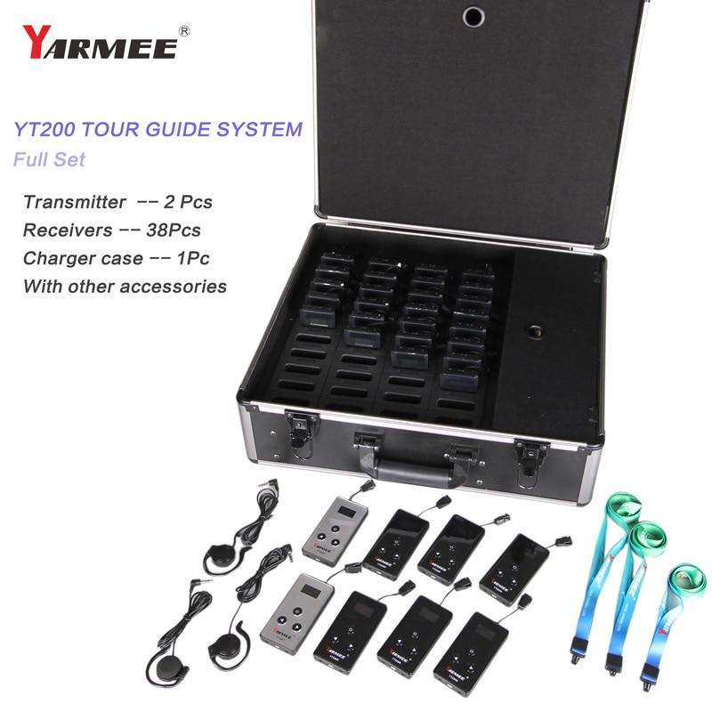 YARMEE superventas sistema de guía turística inalámbrica Whisper Audio Guide guía Tour 2 transmisores y 38 receptores YT200