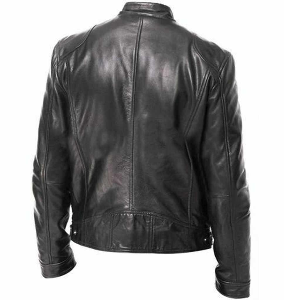 Männer Vintage Casual Zipper Streetwear Jacke Bomber Leder Langarm Herbst Winter Stehkragen Club Mantel