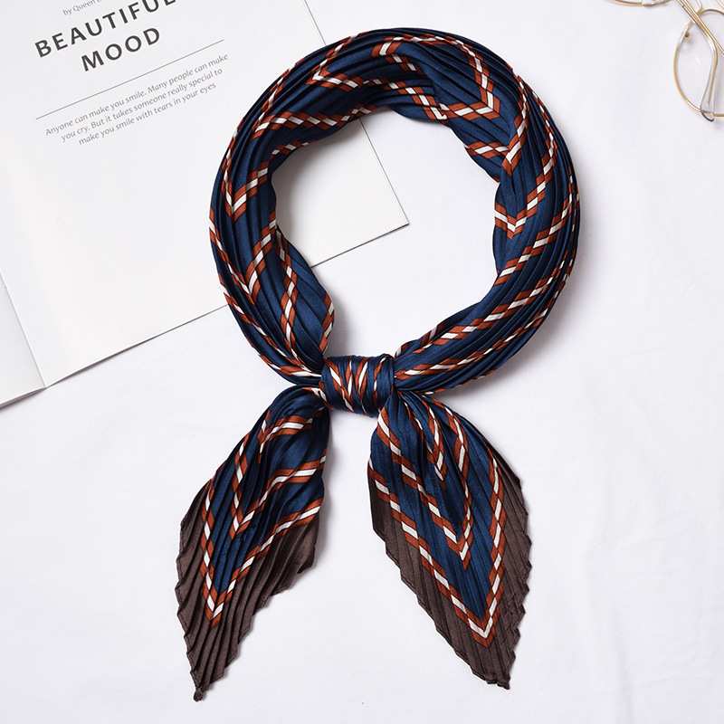 Folded pleated silk scarf exquisite retro fashion print wrinkle decoration sunscreen wild art small square scarf size 55 55cm in Women 39 s Scarves from Apparel Accessories