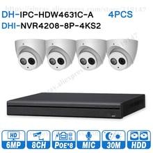 Dahua 6MP 8 + 4 אבטחת CCTV מערכת 4pcs 6MP IP מצלמה IPC HDW4631C A & 8POE 4K NVR NVR4208 8P 4KS2 מעקב אבטחת מערכת