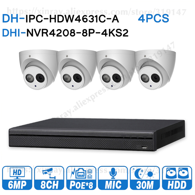 Dahua 6MP 8+4 Security CCTV System 4pcs 6MP IP Camera IPC HDW4631C A & 8POE 4K NVR NVR4208 8P 4KS2 Surveillance Security System