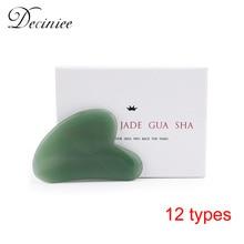 Natural Rose Quartz Jade Guasha Stone Board Face Massager Tools Gua sha Scraper Plate Massage Therapy For Face Neck Body Neck