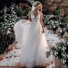V Neck Wedding Dresses A Line Boho Wedding dress Destination 2020 Flower Lace Tulle Bridal Dresses Vestido de novia(China)