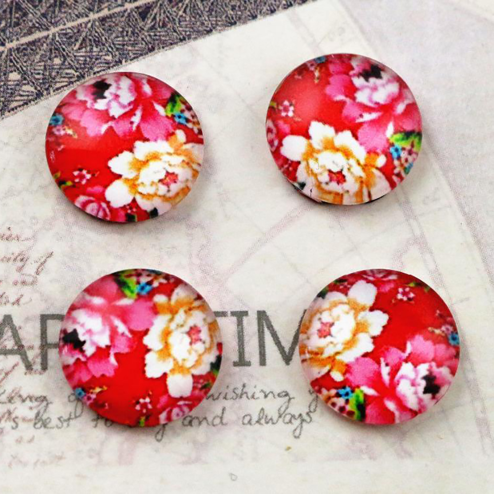 Hot Sale 20pcs 12mm Flower Style Handmade Photo Glass Cabochons