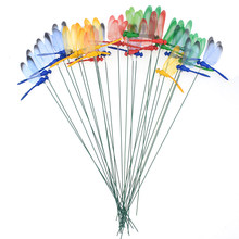 10 Stks/partij Kunstmatige Dragonfly Vlinders Tuin Decoratie Outdoor 3D Simulatie Dragonfly Stakes Yard Plant Gazon Decor Stok(China)