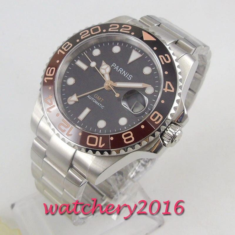 40mm PARNIS Black Dial Sapphire Glass Super Luminous GMT Top Luxury Brand Automatic movement men's Watch Mechanical Watches     - title=