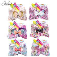 8 Inch Jojo Siwa Hair Bows for Girls Unicorn Ribbon Glitter Wings Knot Hairbows Handmade Hairgrips Kids Party Hair Accessories