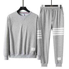 2020 marka jesień zima zestawy dla mężczyzn spodnie odzież Sweatsuit modne ciuchy sportowe dresy dresowe z długim rękawem tanie tanio HAYBLST CN (pochodzenie) O-neck Sznurek COTTON Pełna Na co dzień Trousers Cotton polyester W paski Grey Black Blue