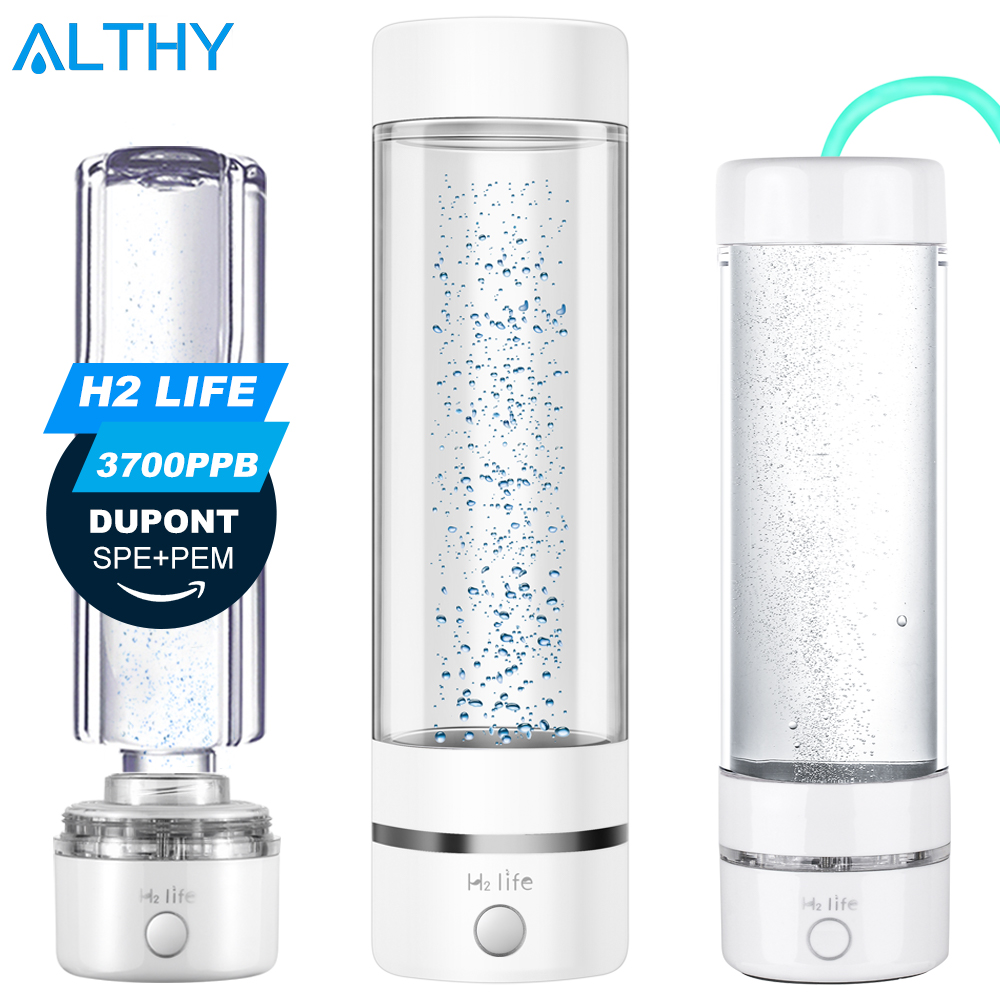 H2Life Hydrogen Rich Water Generator Bottle DuPont SPE PEM Dual Chamber Technology H2 Maker Lonizer Electrolysis Cup Max 3700ppb