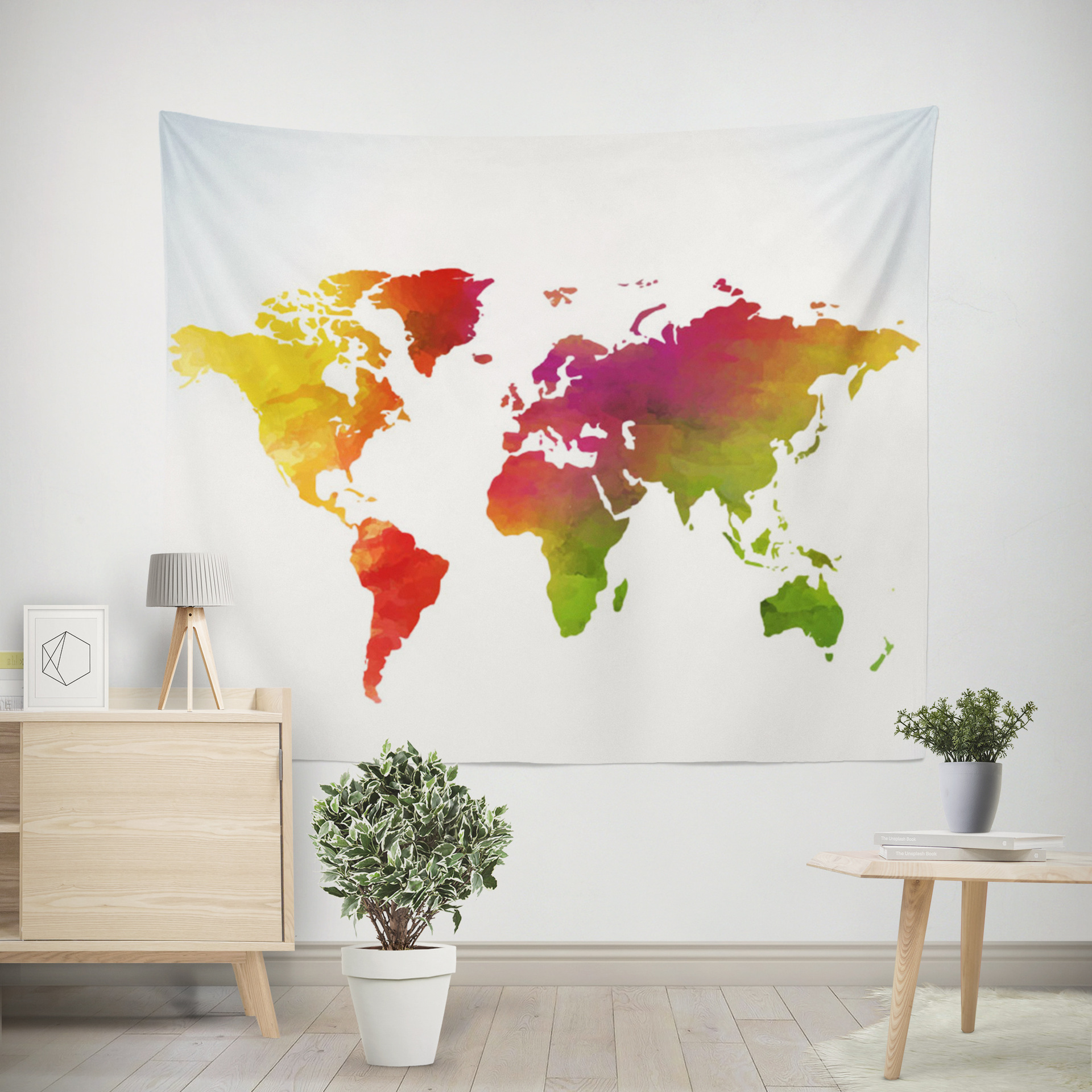 World Map Color Printing Home Fabric Decorative Tapestry Hanging Drawing 150x200cm