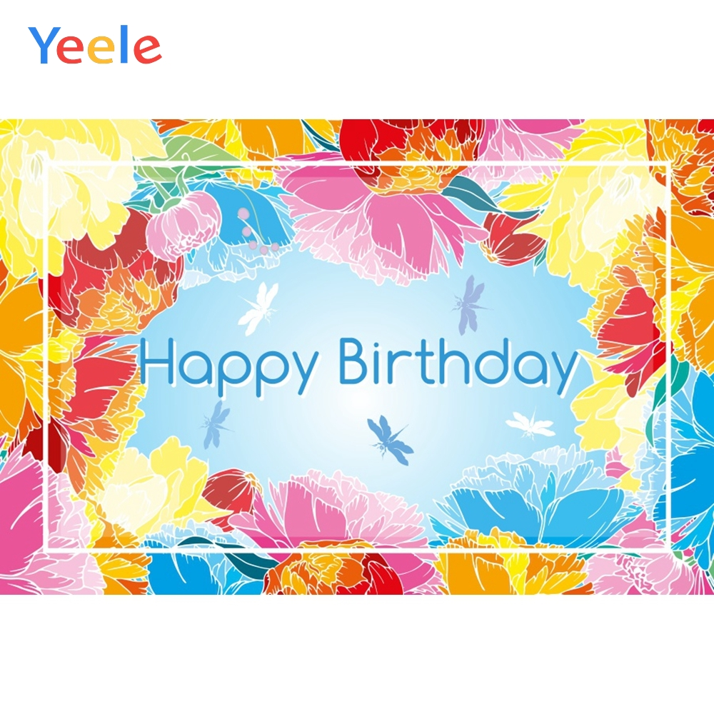 Yeele Birthday Photocall Color Flower dragonflies Photography Backdrops Personalized Photographic Backgrounds For Photo Studio in Background from Consumer Electronics