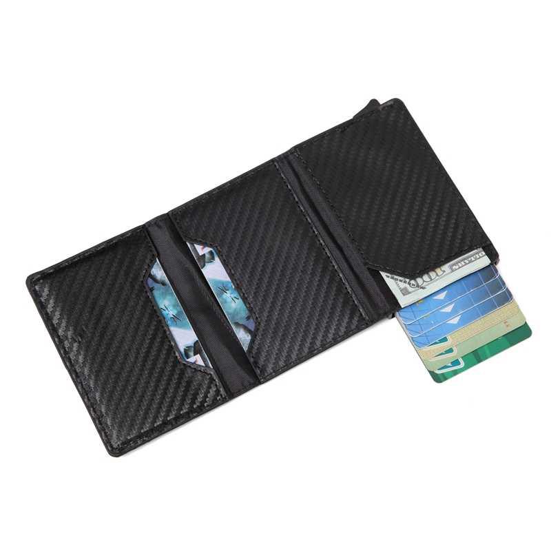 ผู้ชายกระเป๋าสตางค์บัตรเครดิตผู้ถือ mini อลูมิเนียมกล่องกระเป๋าสตางค์ RFID หนัง PU Pop Up แม่เหล็กคาร์บอนไฟเบอร์เหรียญ