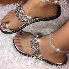 Summer Sequins Slippers Women Flip Flops Crystal Rhinestones Flat Slides Open Toe Casual Ladies Shoes Zapatos De Mujer Sandalias sequins women slippers closed toe bling gladiator sandals flip flops glitter flats lady slides wedding shoes eyes sandalias 40