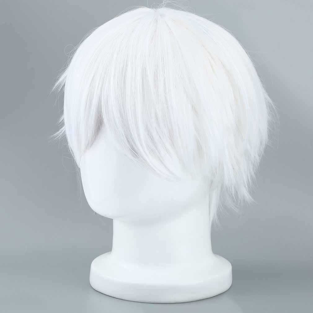 Mannelijke Witte Synthetische Pruik Voor Cosplaying Anime Karakters Rechte Korte Hoge Temperatuur Zijde Haar Voor Cosplay Pruiken