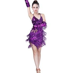 Image 5 - Shining Sequin ชุดเต้นรำละตินผู้หญิง Fringe พู่เต้นรำประสิทธิภาพเครื่องแต่งกาย Tango ชุด танцевальные платья