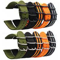 6 farbe NATO armband nylon band schwarz schnalle 18 mm 20 mm 22 mm 24 mm uhr band Für Samsung getriebe S3 Frontier S2