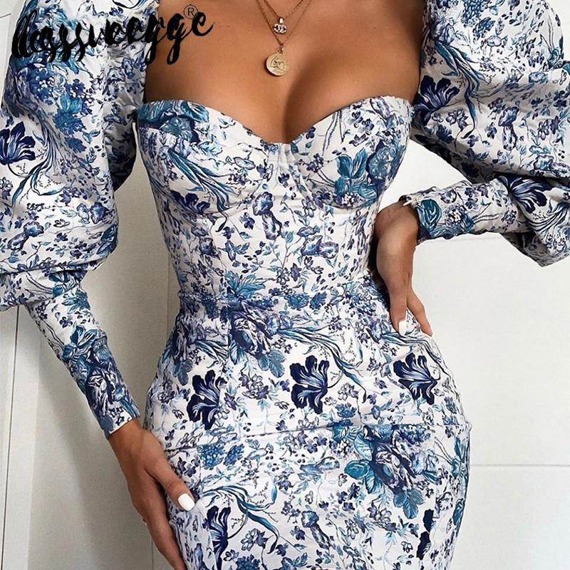 lessverge Floral print vintage blue bodycon dress Puff sleeve mini autumn winter dress chinese Women party night elegant dresses