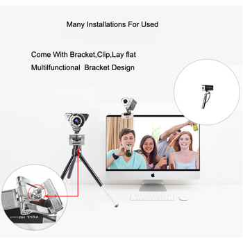 Web Camera Lens HD 1080P Visual 65 Degree Angle Adjustable Focus Manual Rotate Lens With Digital Microphone to Keep Clear Sound 3