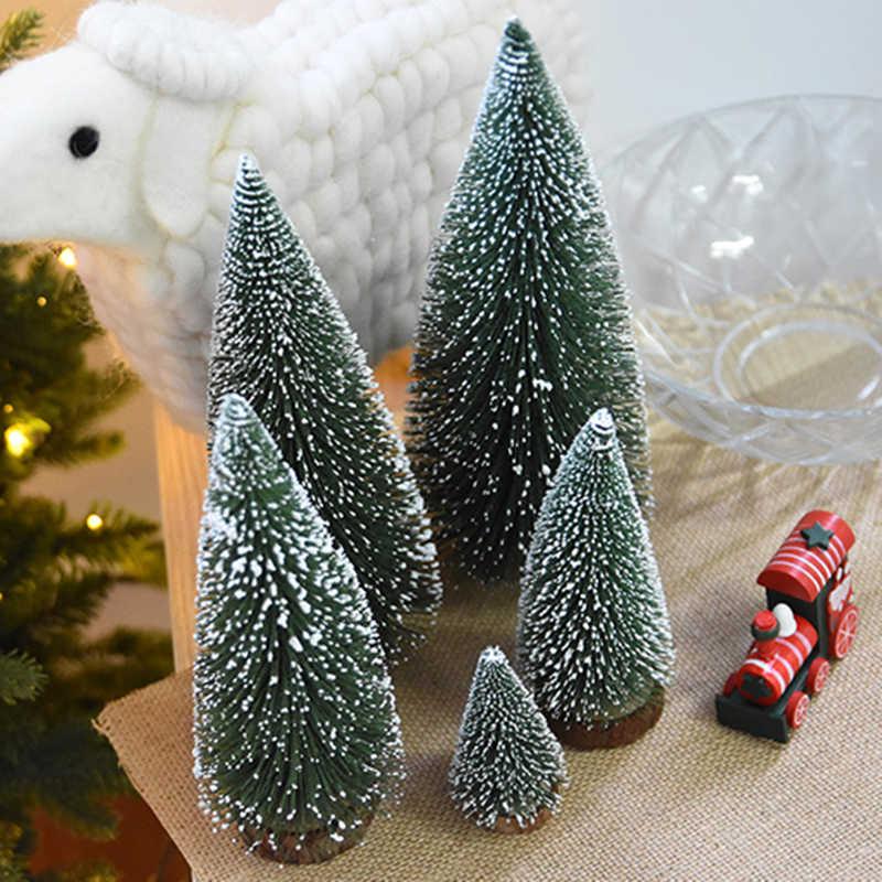 Mini Cây Giáng Sinh Cây Nhân Tạo Tuyết Sương Giá Đồ Trang Trí Với Đế Gỗ Cho Giáng Sinh Nhà Đảng Xmas Eve Trang Trí