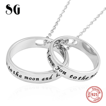 SG double circles pendant necklaces with I love you to the moon and back 925 sterling silverdiy necklace fashion for lover gifts