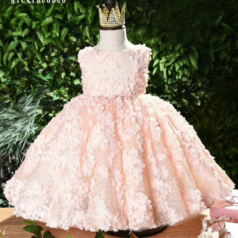 Baby Princess's Birthday Baptist Party Pink Dress Flower Girl Baby's First Eucharist Ballroom Dress