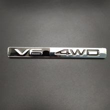 1 pçs 3d metal v6 4wd lado do carro fender tronco traseiro emblema emblema adesivo decalques para toyota highlander, acessórios do carro decorações