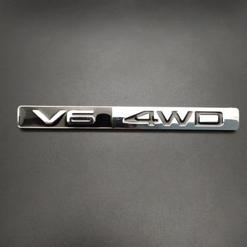 1Pcs 3D Metal V6 4WD Car Side Fender Rear Trunk Emblem Badge Sticker Decals for Toyota Highlander,Car accessories decorations