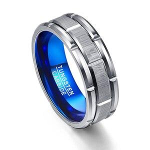 Image 2 - Nxingad T062R فريد خاتم الخطوبة مزيج حلقة ثقب الأزرق 8 مللي متر واسعة التنغستن الصلب خاتم حجم 7 12