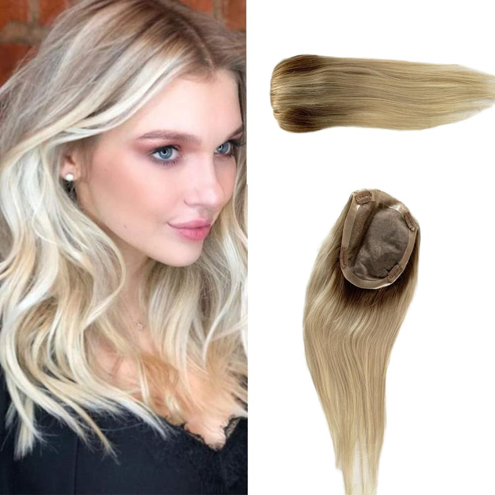 BYMC Toupee Woman Ombre Blonde Hair Top Piece European Remy Hair One Piece Hair Topper Mono Clip Wig For Less Hair Women