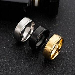Loredana 8 мм черное и белое золото три цвета однотонный матовый цвет двойной скос из нержавеющей стали мужские кольца для мужчин