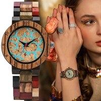 Vogue Unregelmäßige Blaue Linien Uhr Frauen Mode Holz Uhr Vintage Gemischte Farbe Holz Armband Uhr frauen Handgelenk Reloj Mujer
