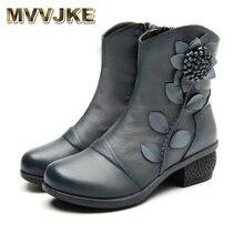 Mvjke inverno moda sapatos femininos botas sapatos mulher artesanal vintage genuíno couro de salto baixo sapato