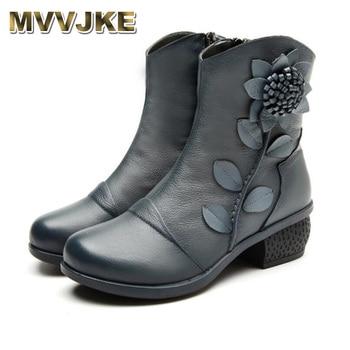 MVVJKE Winter Fashion Shoes Women Boots Woman Handmade Vintage Genuine Leather Low-Heeled Shoe - discount item  48% OFF Women's Shoes