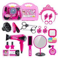 Juego de simulación de peluquería para niños, secador de pelo de juguete con maleta, juguete educativo para chico, 28 Uds.