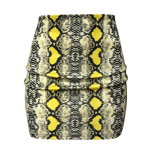 Fashion High Waist Snake Print Zipper Pencil Tight-fitting Skirt Hip Slim Sexy Elegant Short Mini Skirt women clother Women's Clothing & Accessories